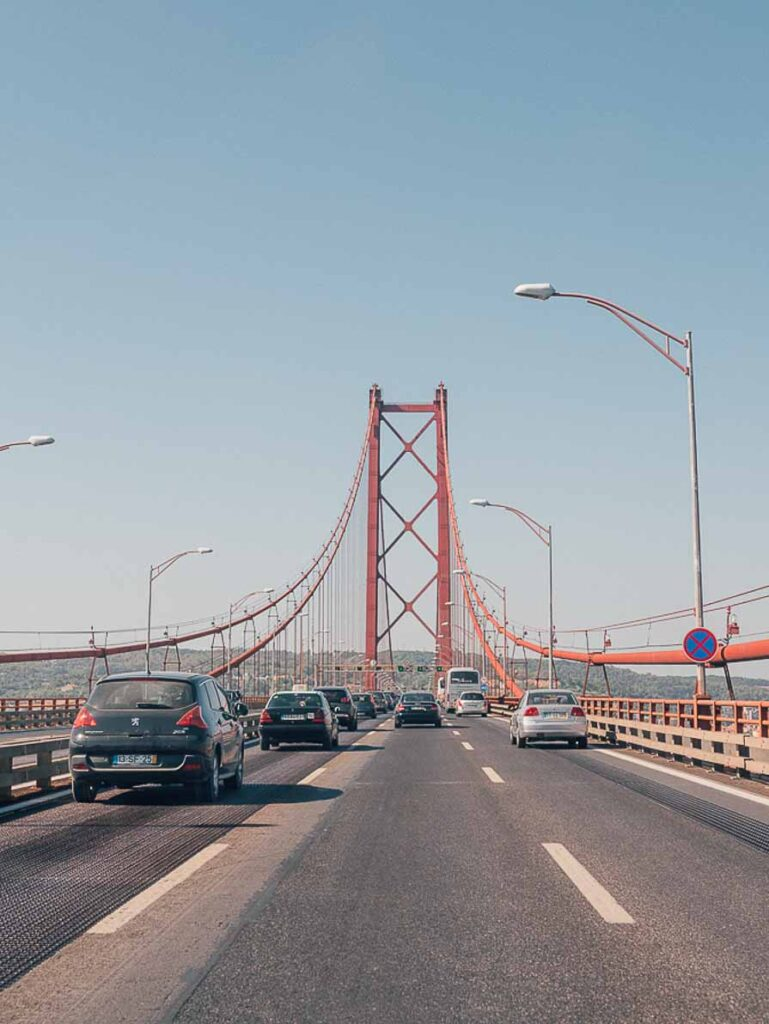 Driving over the bridge in Lisbon
