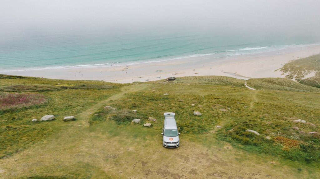 Sennen Beach drone shot Cornwall