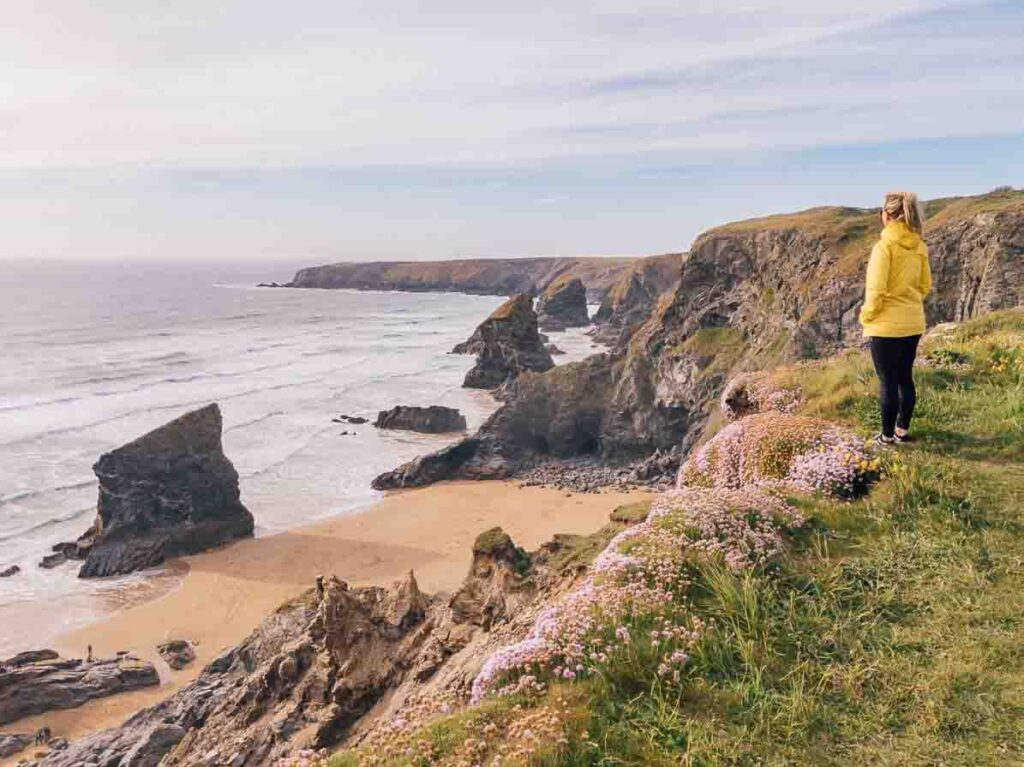 Bedruthan Steps Cornwall view