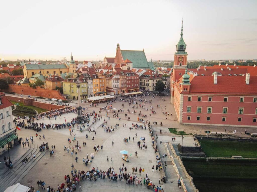 Golden hour view over Warsaw Old Town