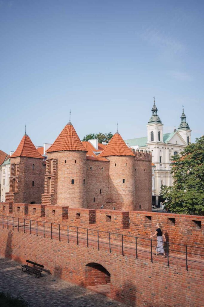 Old castle walls in Warsaw