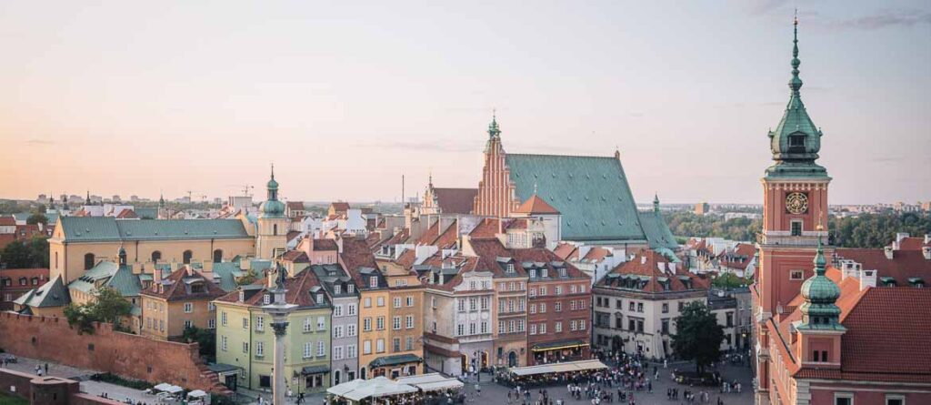 Warsaw old town at sunset