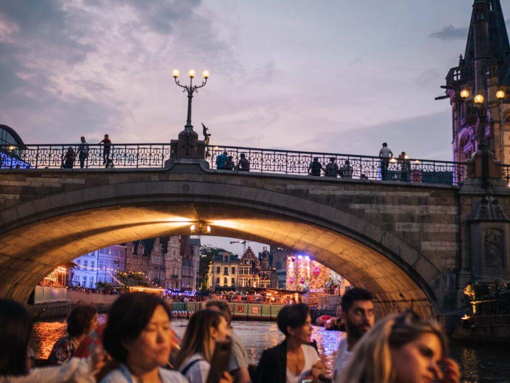 Bridge in Ghent at night