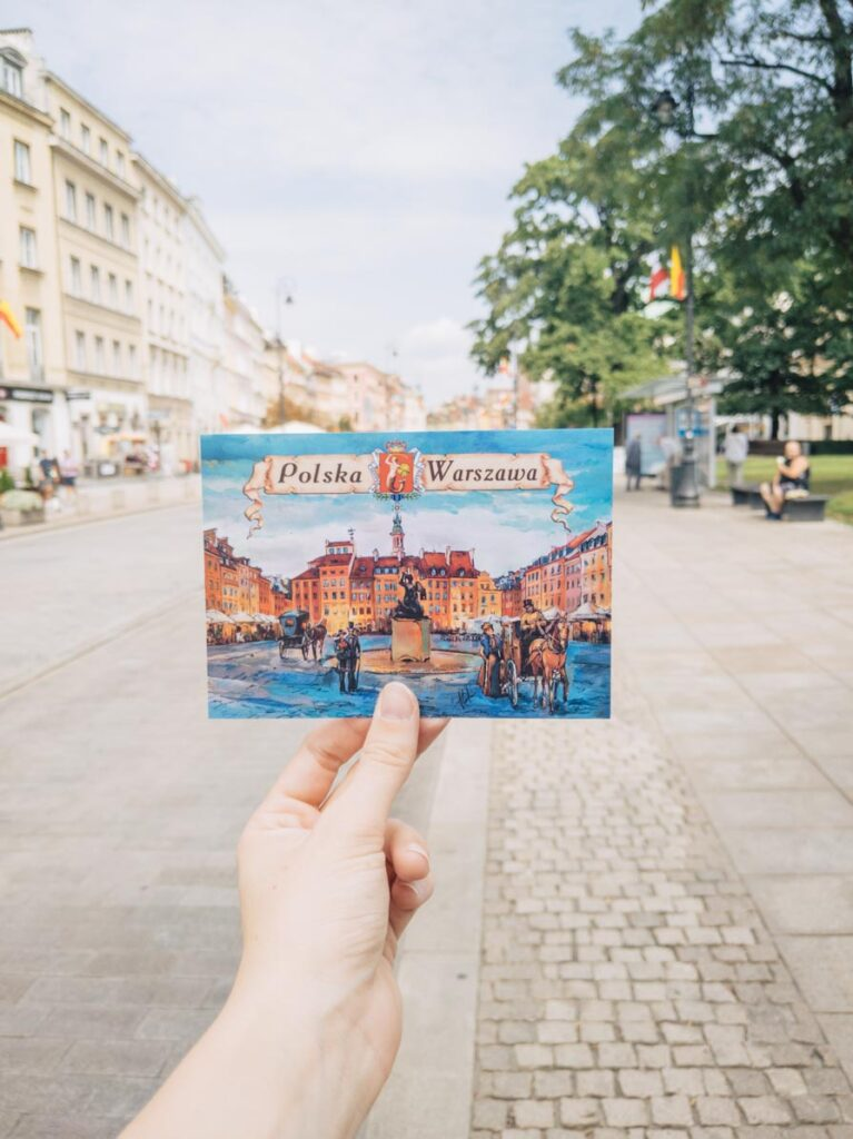 Warsaw postcard in front of Old Town