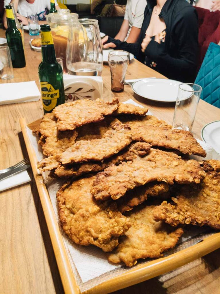 Schnitzel at Vienna hostel