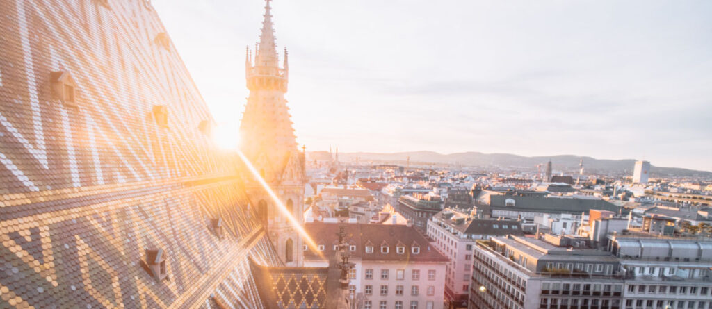 Sunset behind St Stephen's Cathedral in Vienna