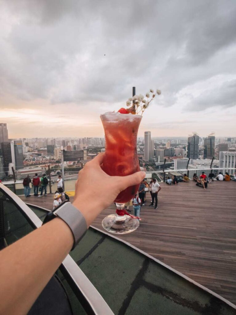 Singapore Sling at the rooftop of Marina Bay Sands