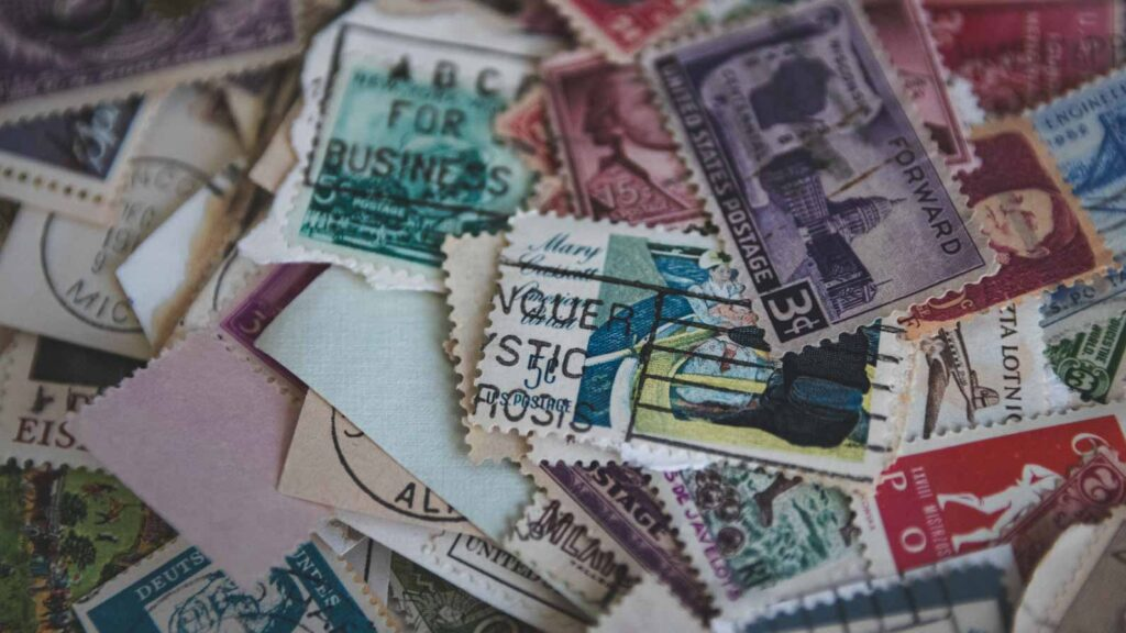 Close up of postal stamps