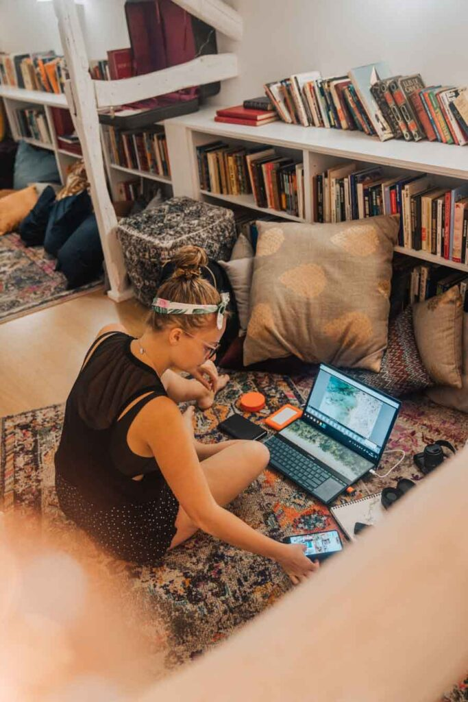 Digital nomad working in hostel