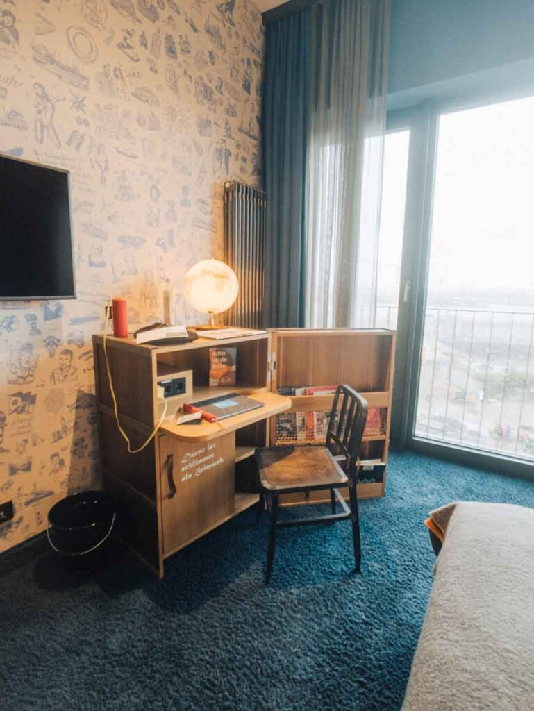 Hotel desk with globe on top
