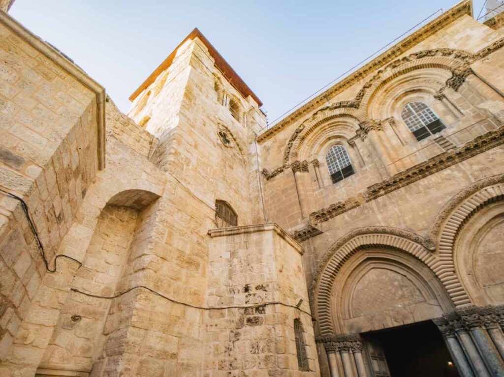 Front of the Church of the Holy Sepulchre in Jerusalem