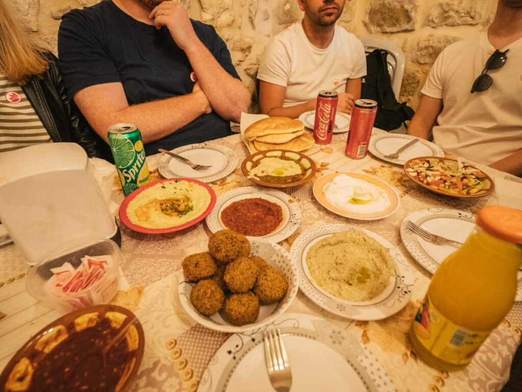 Hummus, falafel and babaganoush in Jerusalem