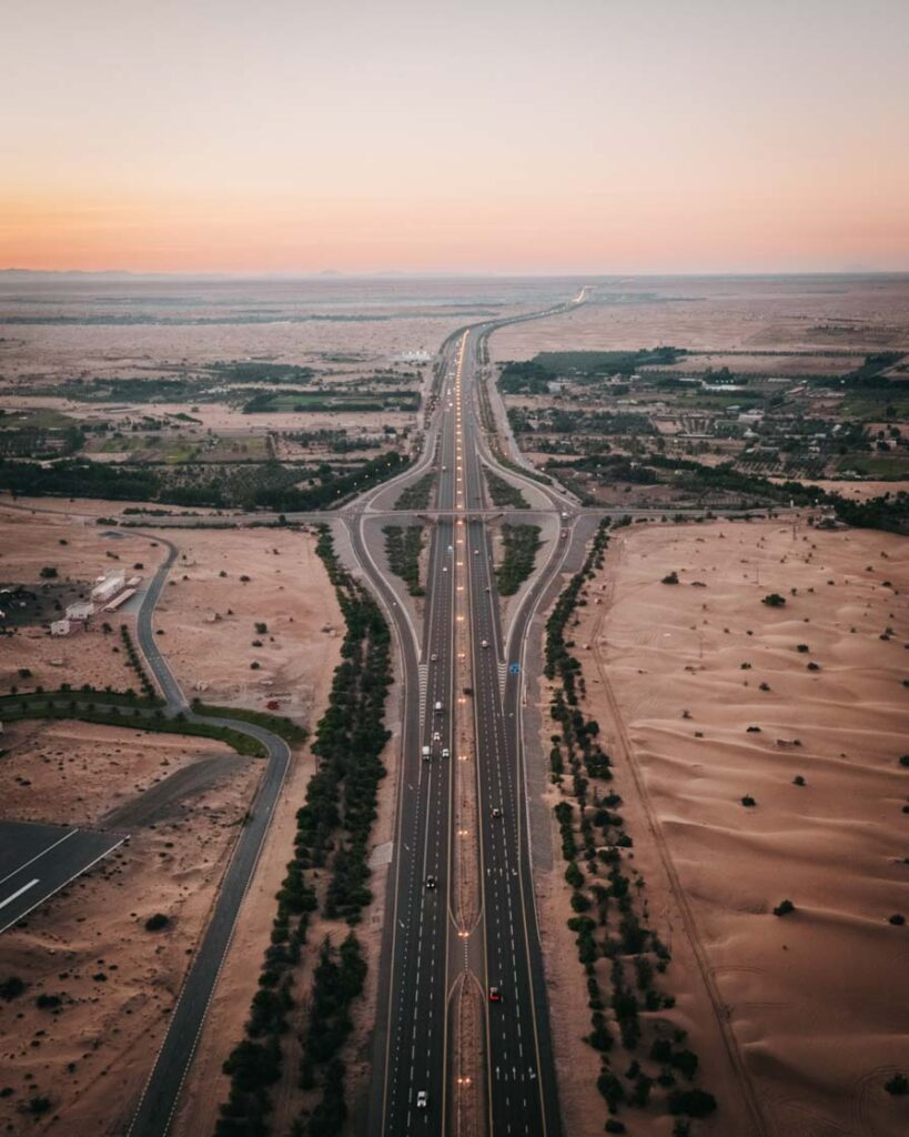 Aerial view of main road out of Dubai through the desert