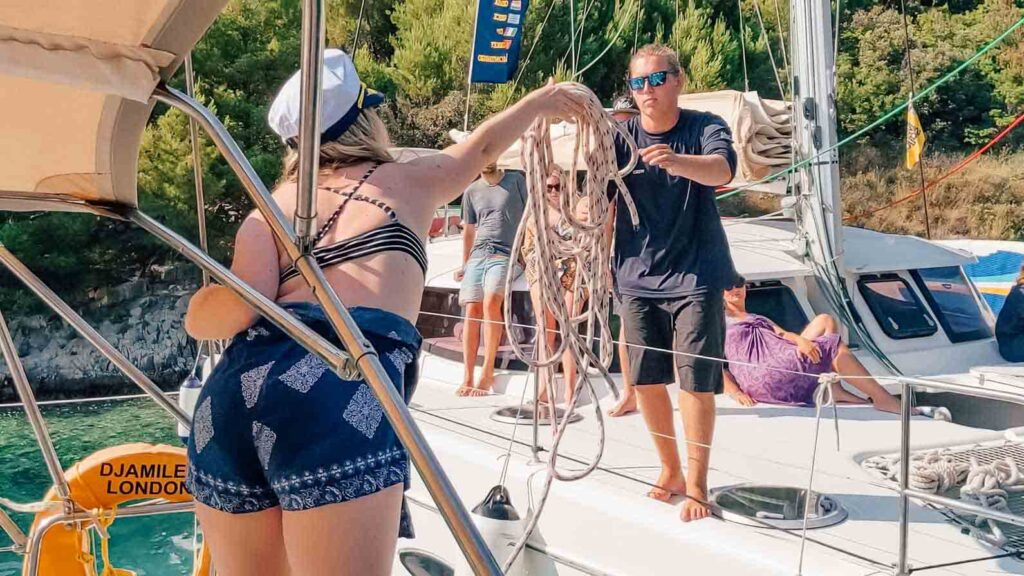 Throwing yacht ropes in Croatia
