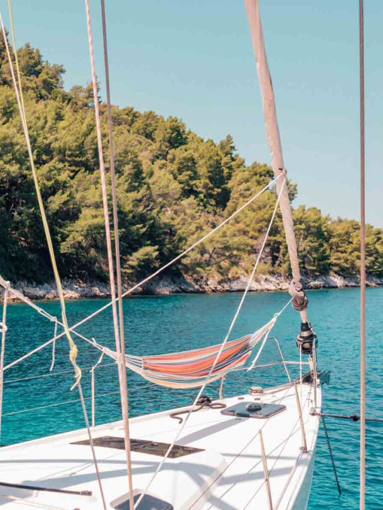 Croatia yacht with hammock