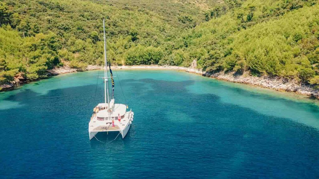 Croatia catamaran in a bay