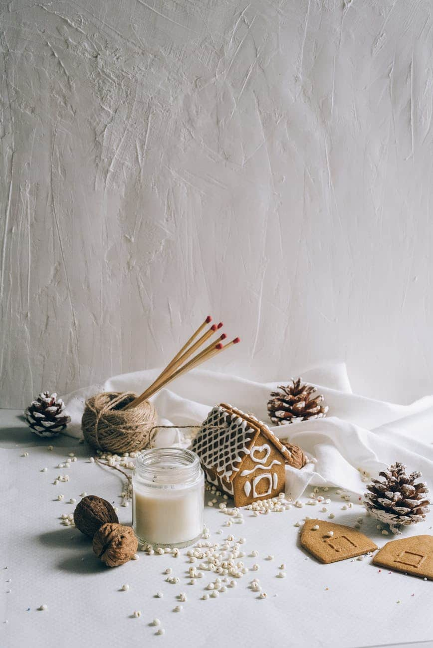 christmas decors on winter background