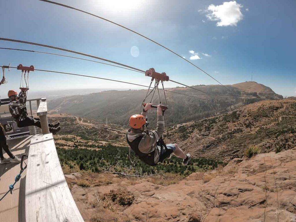 ziplining on my queenstown to christchurch road trip itinerary